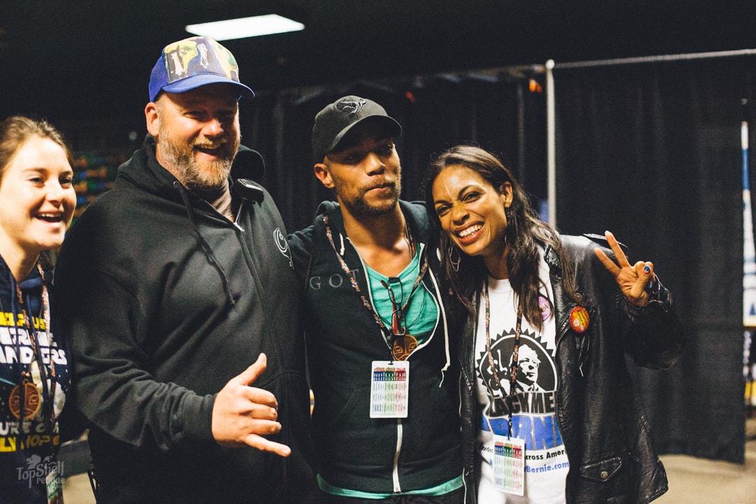 Rosario Dawso, Kendrick Sampson & Shailene Woodley with Caliroot's own Dan Sheehan